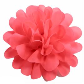 Stoffen bloem 10 cm koraalroze