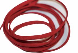 Mondkapje elastiek zacht plat rood 5mm, per meter