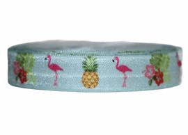 Elastisch band lichtblauw met ananas en flamingo 16 mm per 0,5 meter