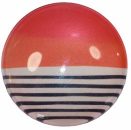 Glas cabochon 25mm: pink/orange/stripes