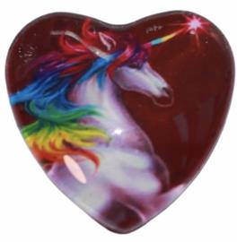 Hart glascabochon unicorn paars 25 mm per stuk