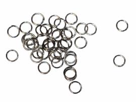 Ringetjes 7 mm donker-zilver met opening, per 10 stuks