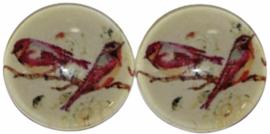 Glas flatback cabochon 12 mm vogeltjes, 2 stuks