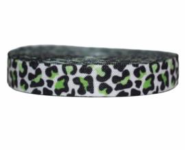 Elastisch band panter groen 16 mm per 0,5 meter