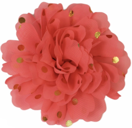 Stoffen bloem: neon roze met gouden stip 10 cm