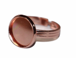Verstelbare (kinder) ring rose gold dia ca 16 mm met cabochon setting past 12mm.