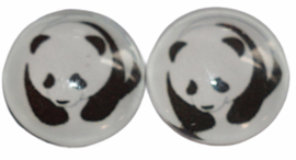 12 mm glascabochon panda per 2 stuks