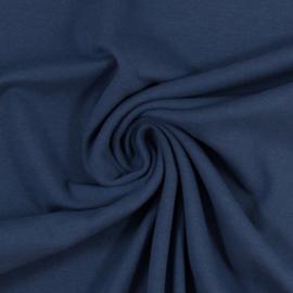 Jeansblauwe boordstof. Rondgebreid 48 cm. Per 25 cm
