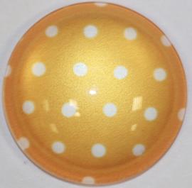 Glascabochon 20mm licht-oranje met witte stip