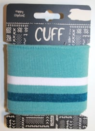 Cuff two stripes mintgroen-petrol/wit 7x110 cm