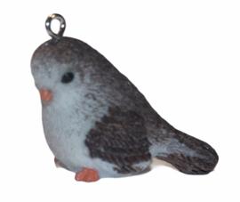 Vogeltje 3d bruin/wit met haakje 29x 21 mm
