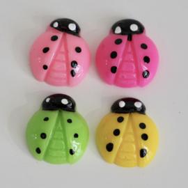 lieveheersbeestje 16 mm flatback - 4 kleuren