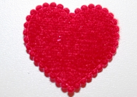 Hart applicatie 20mm effen rood vilt - 5 stuks