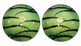 12 mm glascabochon schubben groen, per 2 stuks