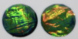 Flatback cabochon green/gold metal foil 12mm, per 2 stuks