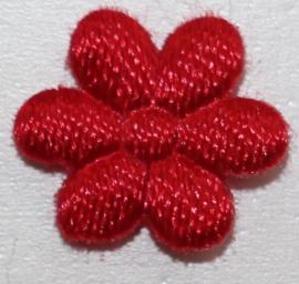 Bloem applicatie 10 mm rood satijn per 5 stuks