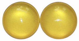Glas flatback cabochon 12mm geel per 2 stuks