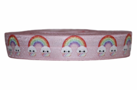 Elastisch band lichtroze blije regenbogen 16 mm per 5 meter