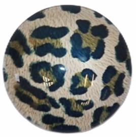 Glas cabochon 25mm: panter beige/zwart