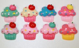 Flatback cabochon cupcake. Diverse kleuren. 19x18mm