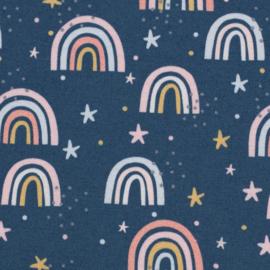 Katoen: Kim regenboogjes blauw (Swafing) per 25 cm