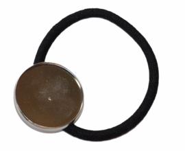 Haarelastiek zwart met setting 25 mm zilverkleur