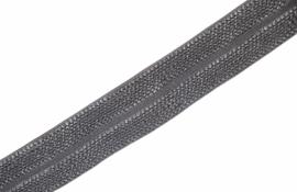 Elastisch biaisband/vouwtres JAQUARD kleur grey 20 mm per 0,5 meter
