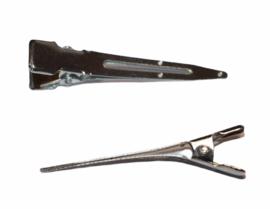 Alligator haarspeldjes zilverkleur 47 mm, per stuk