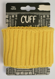 Cuff uni rib mosterdgeel 7x110 cm