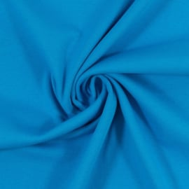 Boordstof: effen blauw (Swafing kleur 842) Rondgebreid 48 cm. Per 25 cm