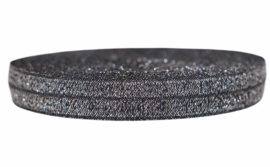 Elastisch band glitter zwart-zilver 16mm per 0,5 meter