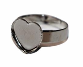 Verstelbare ring dia 18 mm RVS kleur, setting 12 mm