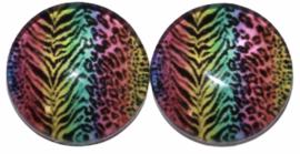 12 mm glascabochon dierenprint gekleurd