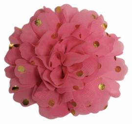 Stoffen bloem 10 cm roze met gouden stipjes