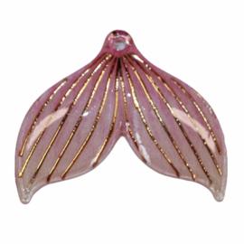 Zeemeerminstaart roze met gaatje  25x30 mm, per stuk
