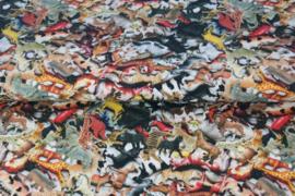 Tricot digitale print : Speelgoed dieren  (Stenzo) per 25 cm