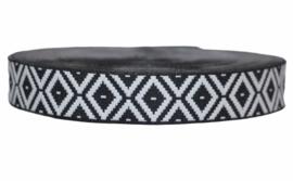 Sierband: Jacquard stijl zwart wit 25 mm, per 0,5 meter
