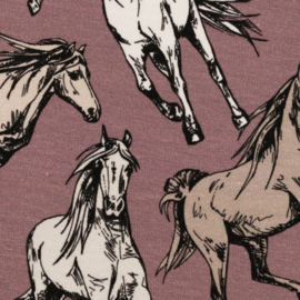 Tricot: Jesse paarden oudroze (Swafing) , per 25 cm