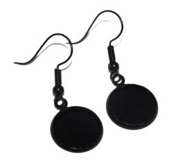 Oorbellen met haak zwart 34x14mm + 12 mm setting, per paar