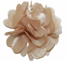Tule bloem 5 cm licht- beige