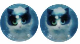 glas cabochons 16 mm poesje, per 2 stuks