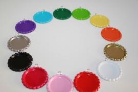 Bottlecaps met ringetje voor 25 mm flatback - 13 kleuren
