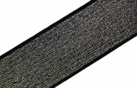 Elastiek lurex zilver/zwart 40 mm per 0,5 meter