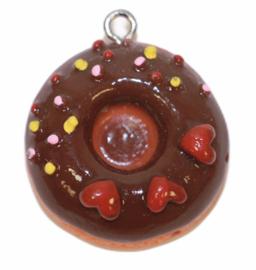 Donut hanger 24 mm chocolade met hartjes