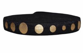 Elastisch band zwart met gouden stippen 16 mm per 0,5 meter