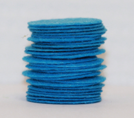Rond viltje blauw 25mm, per stuk
