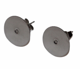 Oorbellen RVS met lijmvlak 12mm incl knopjes, per paar