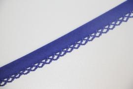 Biaisband met kant kobaltblauw per meter