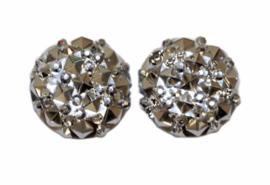 Rondje shiny zilver flatback 12mm, per 2 stuks