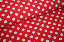 Tricot: DOT RED WHITE 15mm, per 25 cm